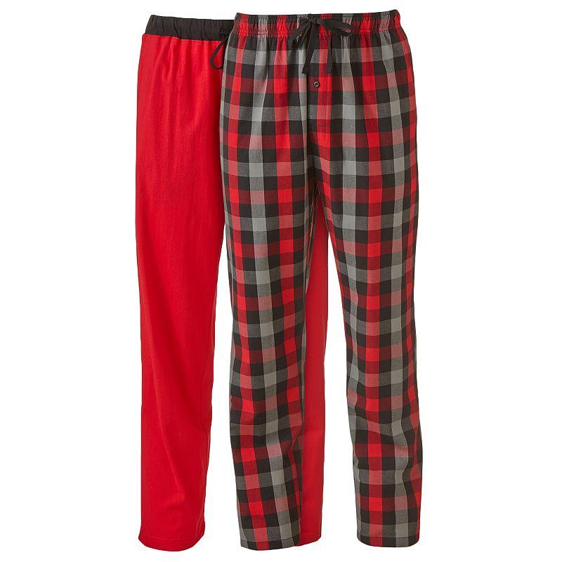 Men's Hanes 2-pk. Plaid & Solid Knit Lounge Pants