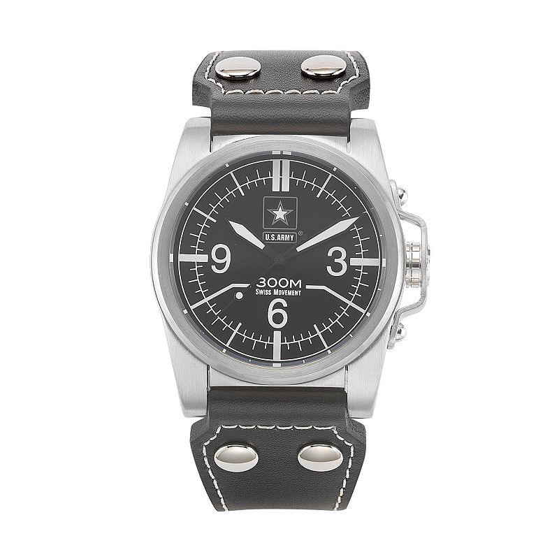 Wrist Armor Men's Military United States Army Leather Watch - 37WA021601A
