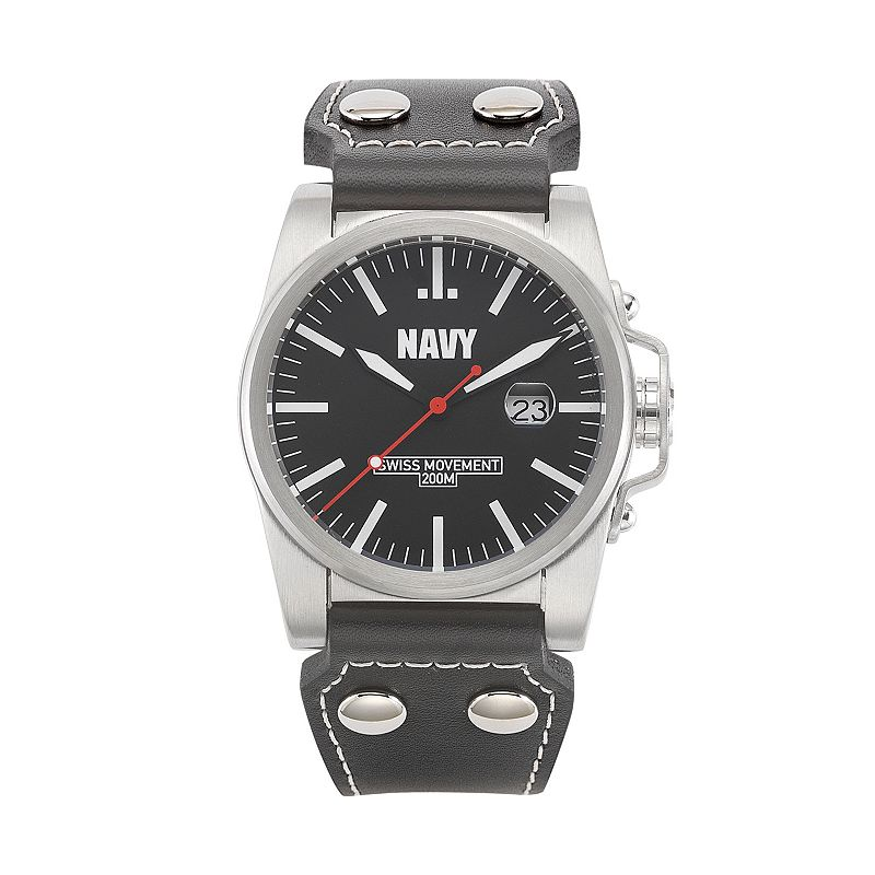 Wrist Armor Men's Military United States Navy Leather Watch - 37WA041701A