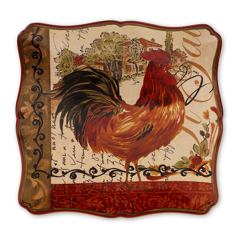Certified International Tuscan Rooster by Pamela Gladding 14.5-in. Square Serving Platter