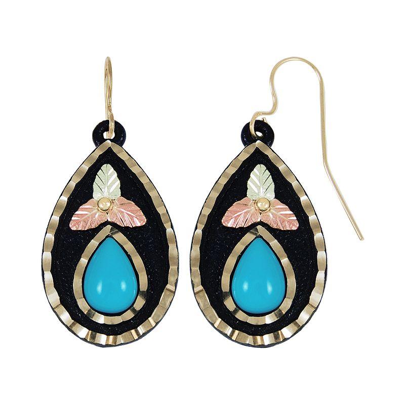 Black Hills Gold Tri-Tone Turquoise Teardrop Earrings