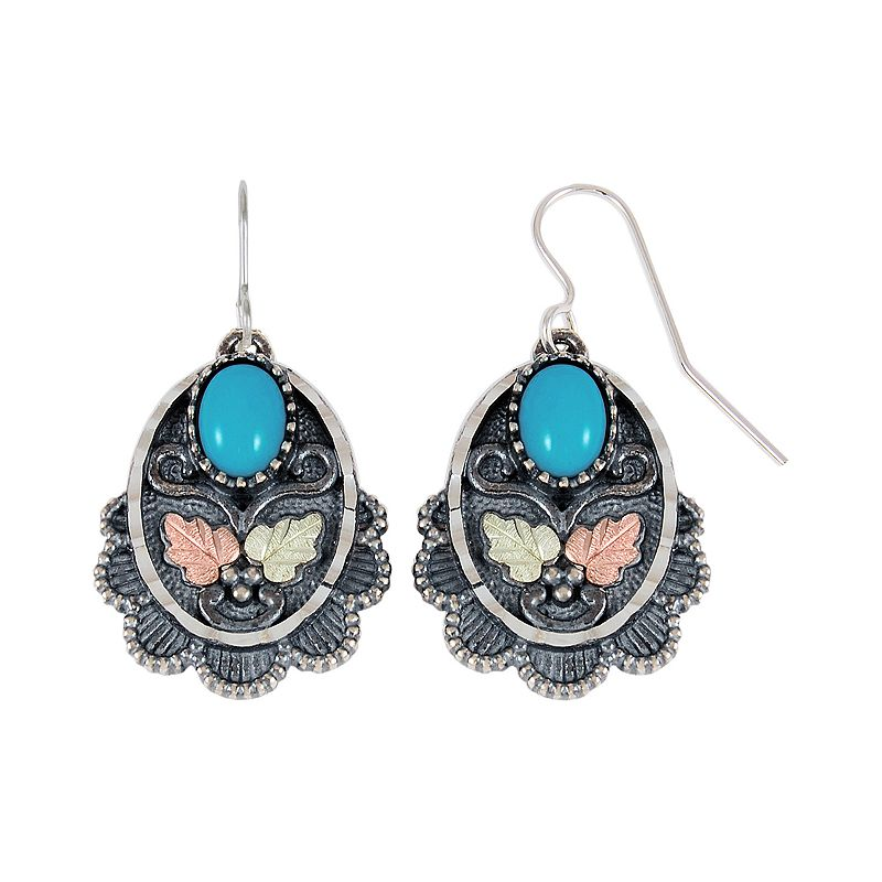 Black Hills Gold Tri-Tone Turquoise Drop Earrings