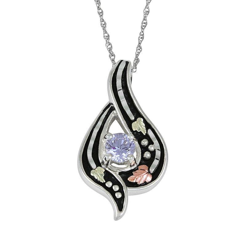 Black Hills Gold Tri-Tone Lavender Cubic Zirconia Leaf Teardrop Pendant in Sterling Silver