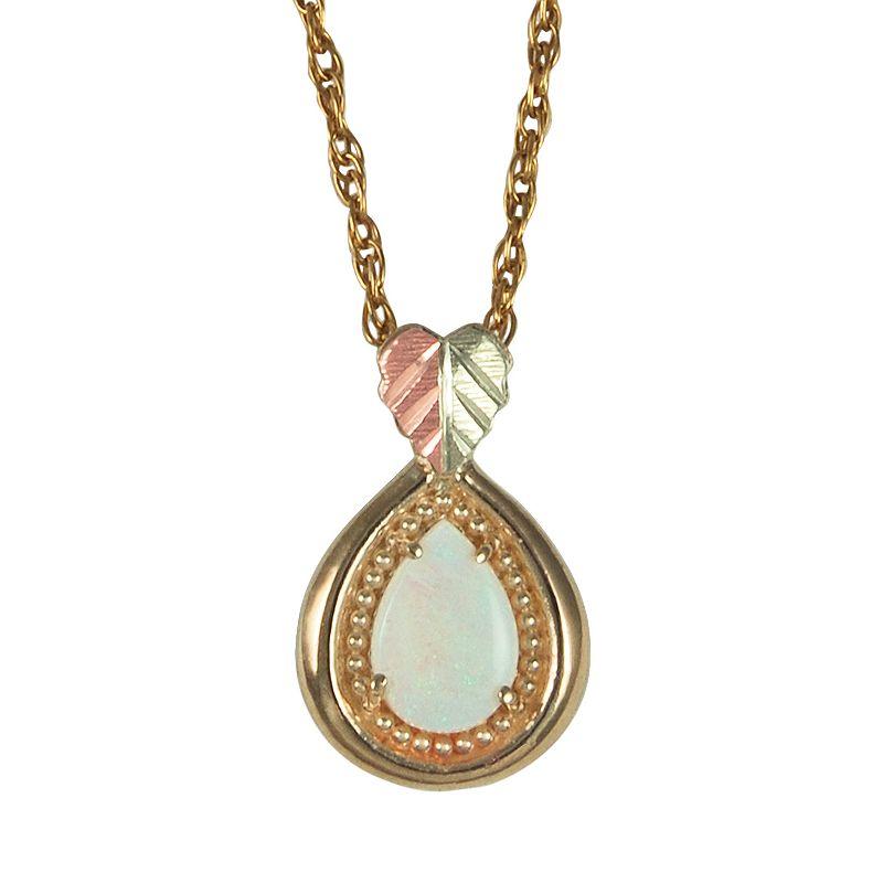 Black Hills Gold Tri-Tone Opal Leaf Teardrop Pendant