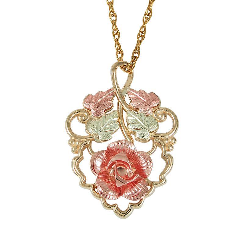 Black Hills Gold Tri-Tone Dakota Rose Pendant