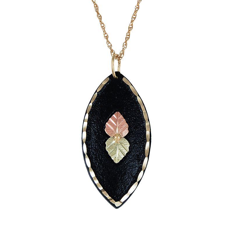 Black Hills Gold Tri-Tone Leaf Pendant