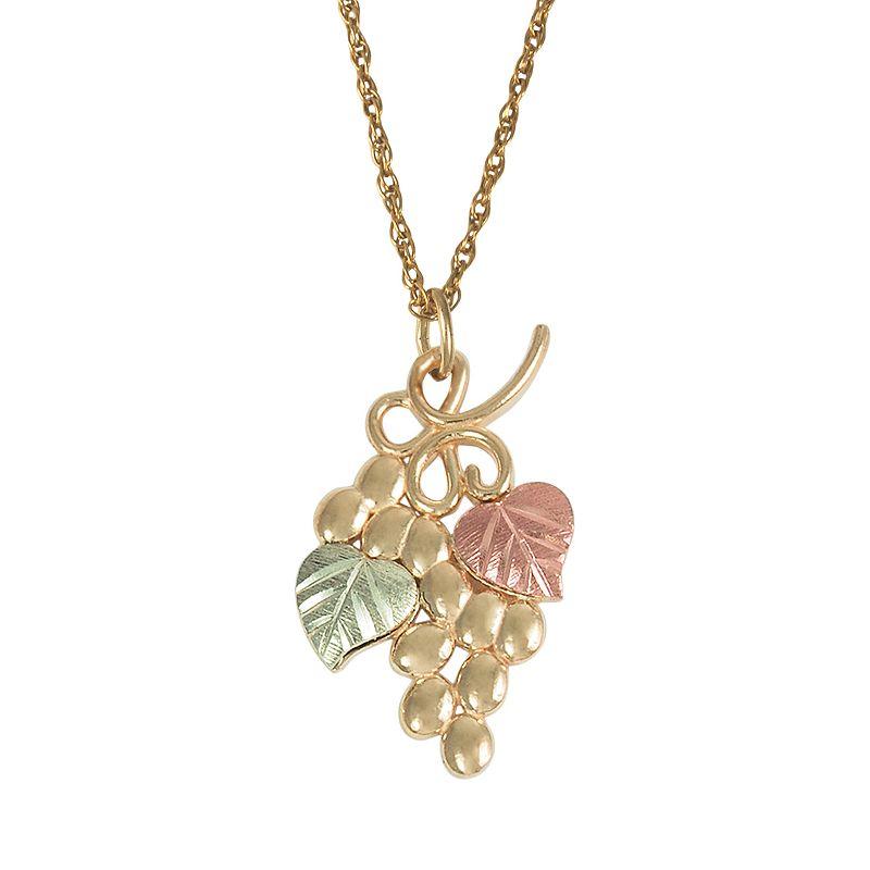 Black Hills Gold Tri-Tone Leaf and Grape Pendant