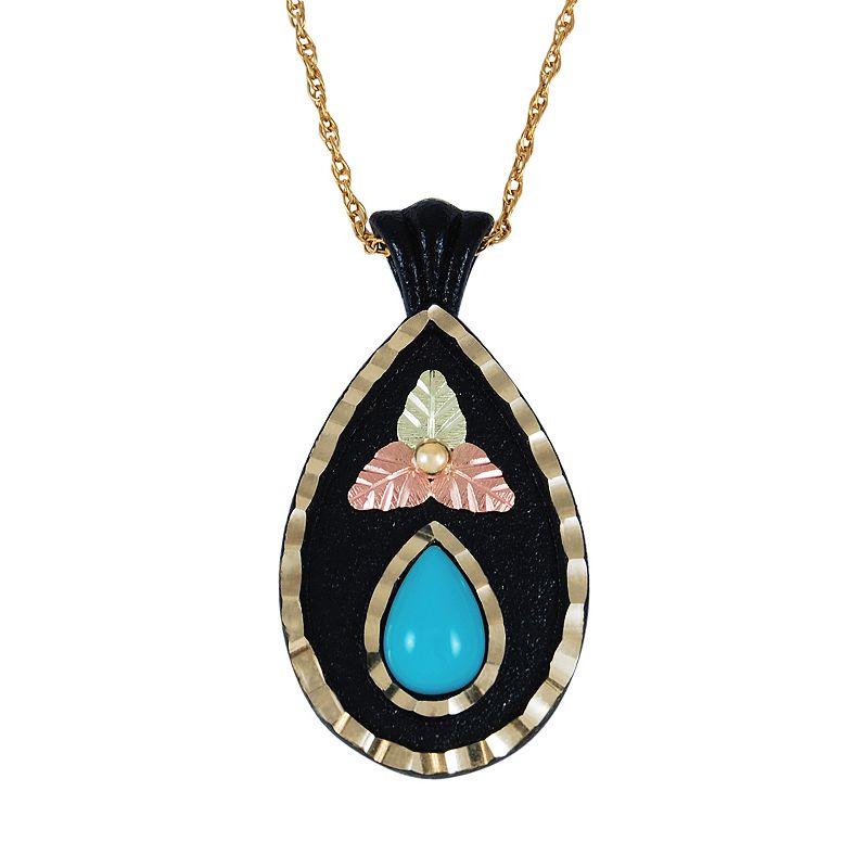 Black Hills Gold and Brass Tri-Tone Turquoise Leaf Teardrop Pendant