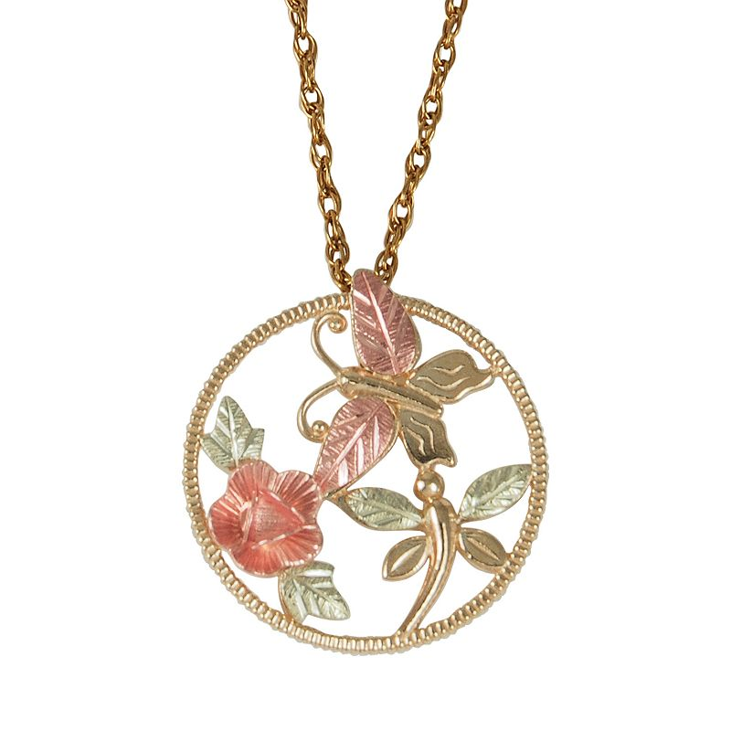 Black Hills Gold Tri-Tone Dakota Rose, Butterfly and Dragonfly Pendant