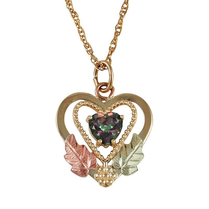 Black Hills Gold Tri-Tone Mystic Fire Topaz Leaf Heart Pendant