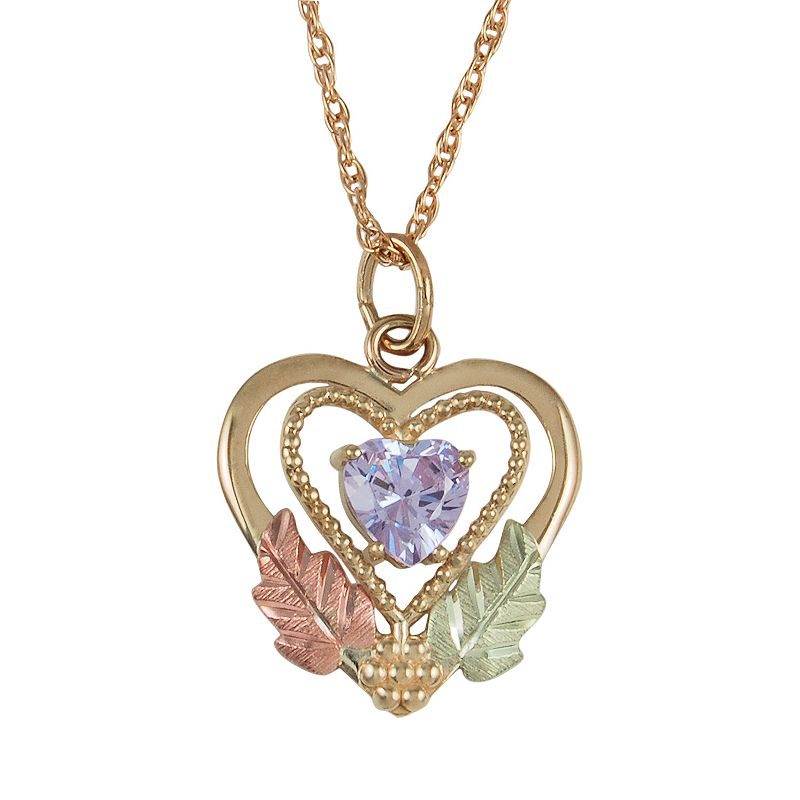 Black Hills Gold Tri-Tone Lavender Cubic Zirconia Leaf Heart Pendant