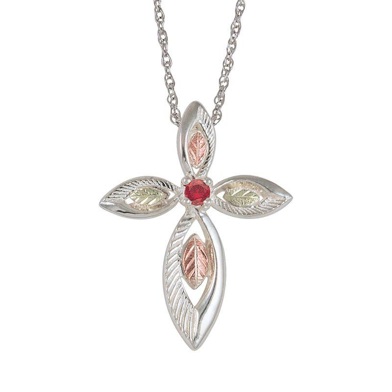 Black Hills Gold Tri-Tone Ruby Leaf Cross Pendant in Sterling Silver