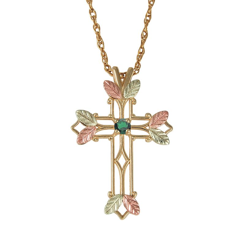 Black Hills Gold Tri-Tone Emerald Leaf Openwork Cross Pendant