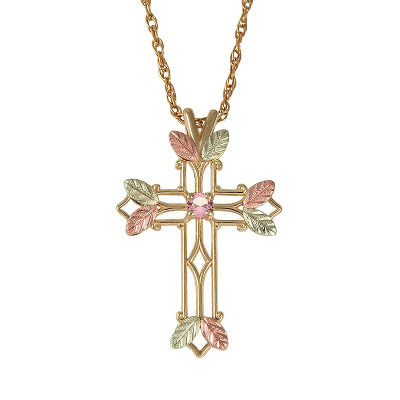 Black Hills Gold Tri-Tone Pink Tourmaline Leaf Openwork Cross Pendant