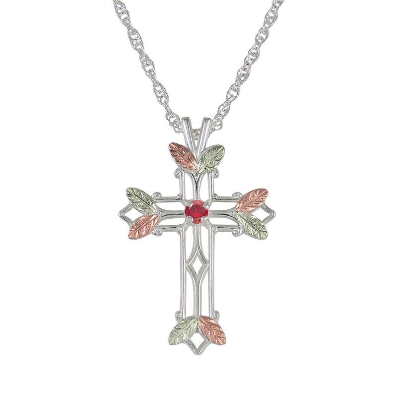 Black Hills Gold Tri-Tone Ruby Leaf Openwork Cross Pendant in Sterling Silver