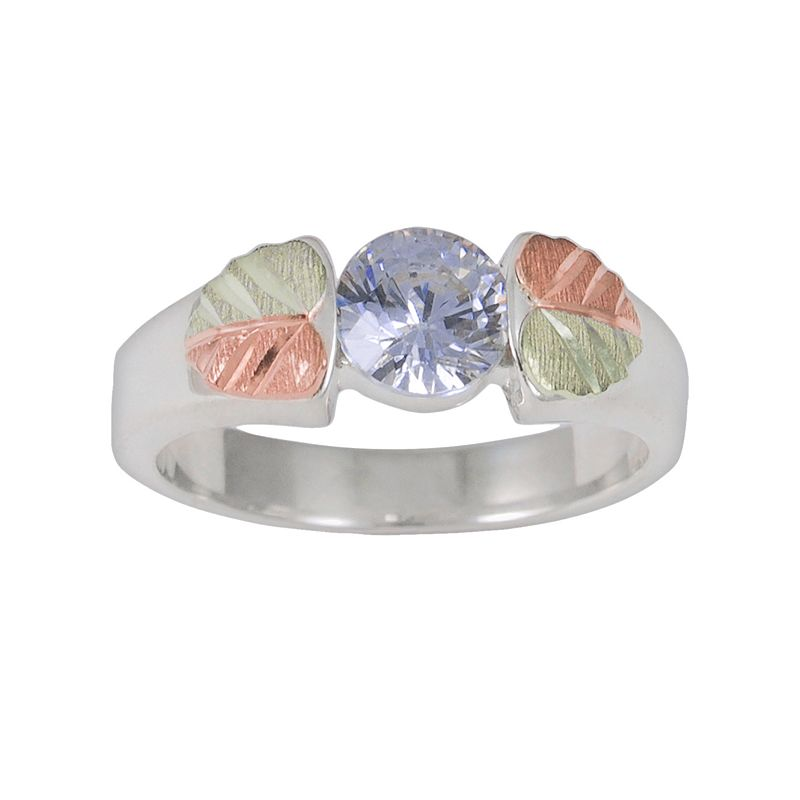 Black Hills Gold Tri-Tone Lavender Cubic Zirconia Leaf Solitaire Ring in Sterling Silver