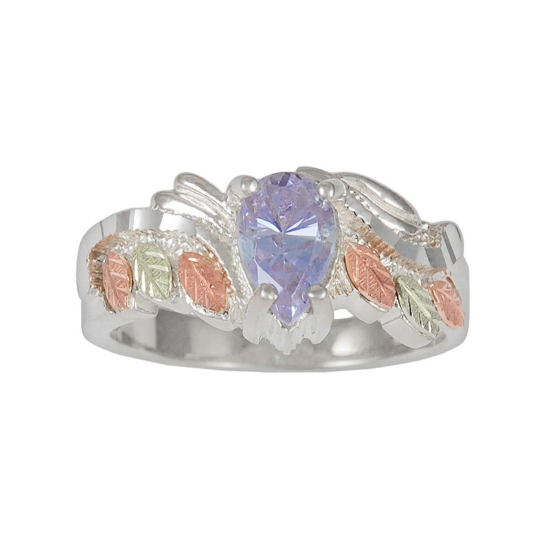 Black Hills Gold Tri-Tone Lavender Cubic Zirconia Leaf Ring in Sterling Silver