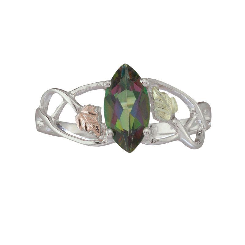 Black Hills Gold Tri-Tone Mystic Fire Topaz Leaf Openwork Ring in Sterling Silver