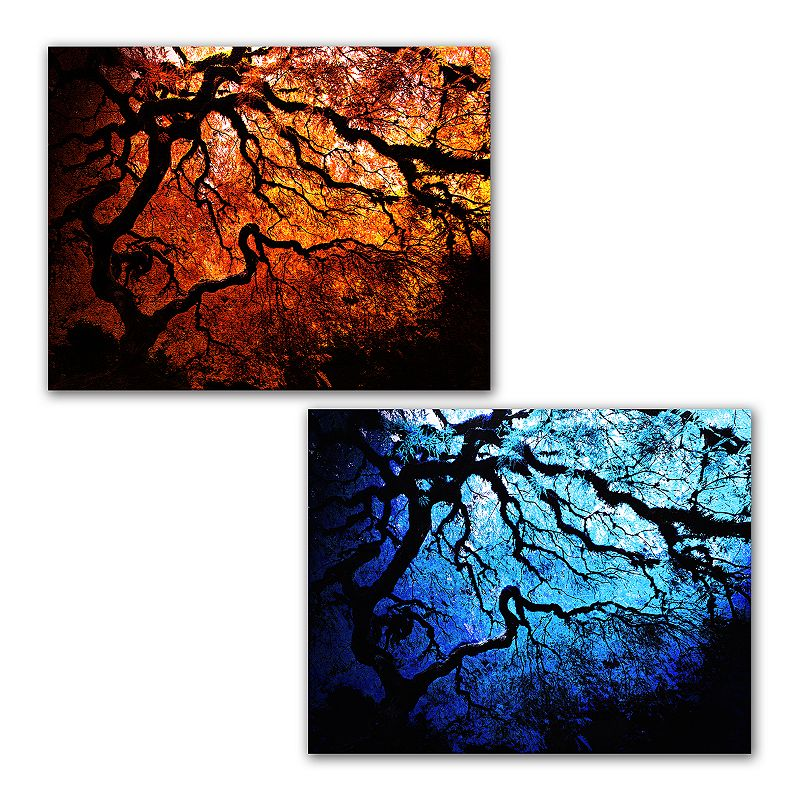36'' x 48'' 2-pc. ''Japanese Fire and Ice Trees'' Canvas Wall Set Art by John Black
