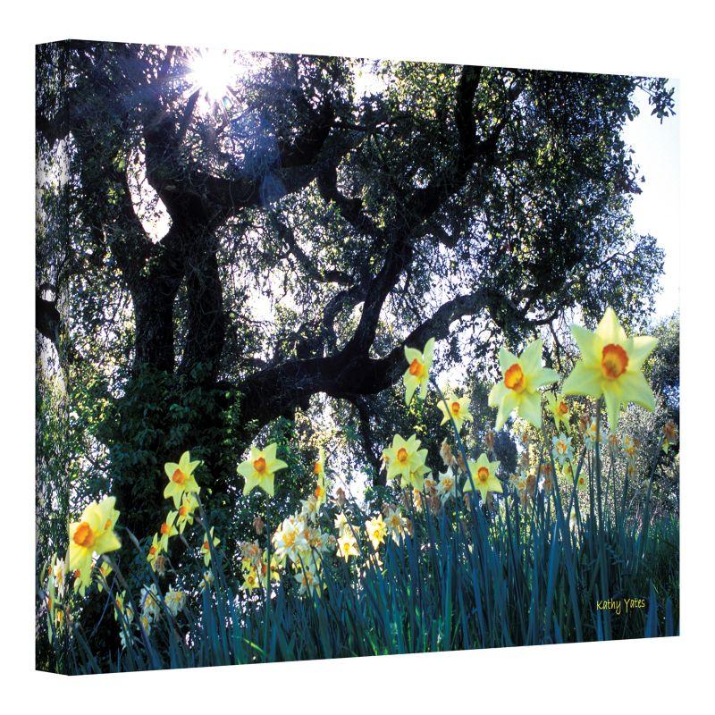 12'' x 18'' ''Daffodils and The Oak'' Canvas Wall Art by Kathy Yates, Green thumbnail