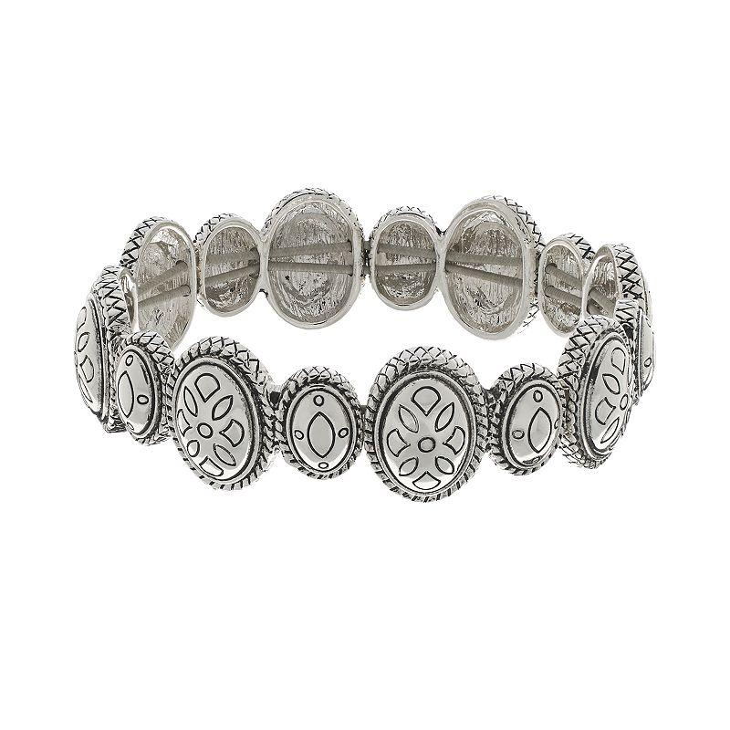 Napier Silver Tone Textured Oval Stretch Bracelet