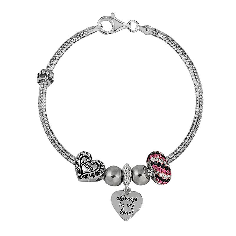 Individuality Beads Sterling Silver Snake Chain Bracelet and Crystal, Mom and Heart Bead and Charm Set