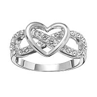 Silver Tone Simulated Crystal Openwork Heart & Infinity Ring