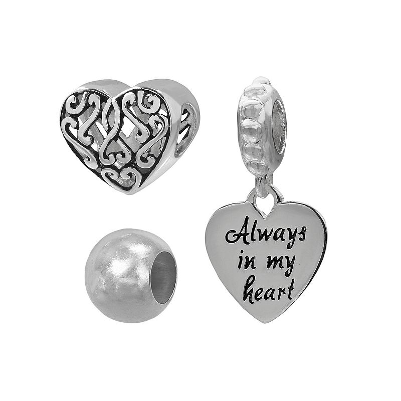 Individuality Beads Sterling Silver Heart Bead and Charm Set