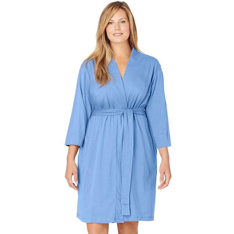 Jockey Modern Cotton Wrap Robe - Women's Plus Size (Blue)