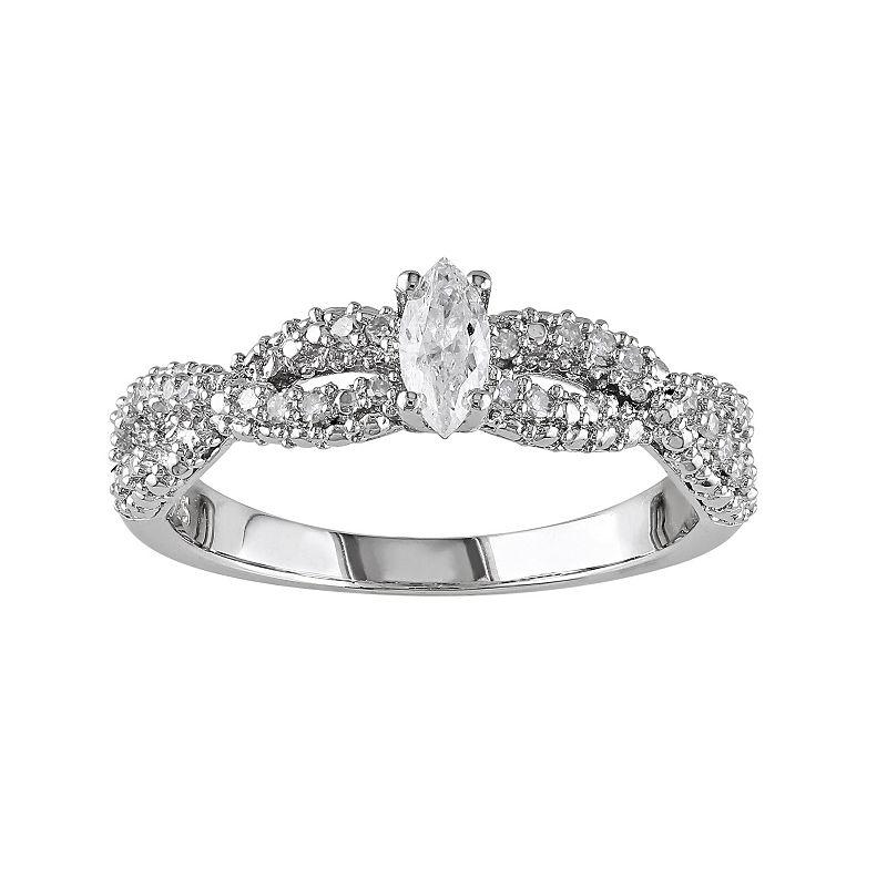 Sterling Silver 1/3-ct. T.W. Diamond Crisscross Ring