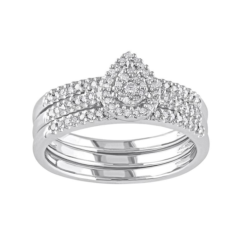 Diamond Teardrop Halo Engagement Ring Set in Sterling Silver (1/4 ct. T.W.)