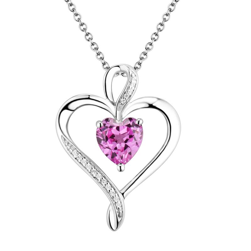 Two Hearts Forever One Sterling Silver Lab Created Pink