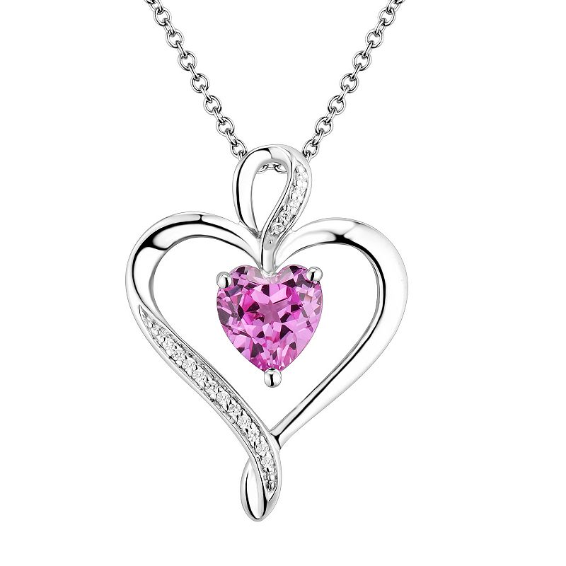 Two Hearts Forever One Sterling Silver Lab-Created Pink Sapphire and Diamond Accent Ribbon Heart Pendant