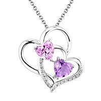 Two Hearts Forever One Sterling Silver Amethyst, Lab-Created Pink Sapphire & Diamond Accent Double Heart Pendant