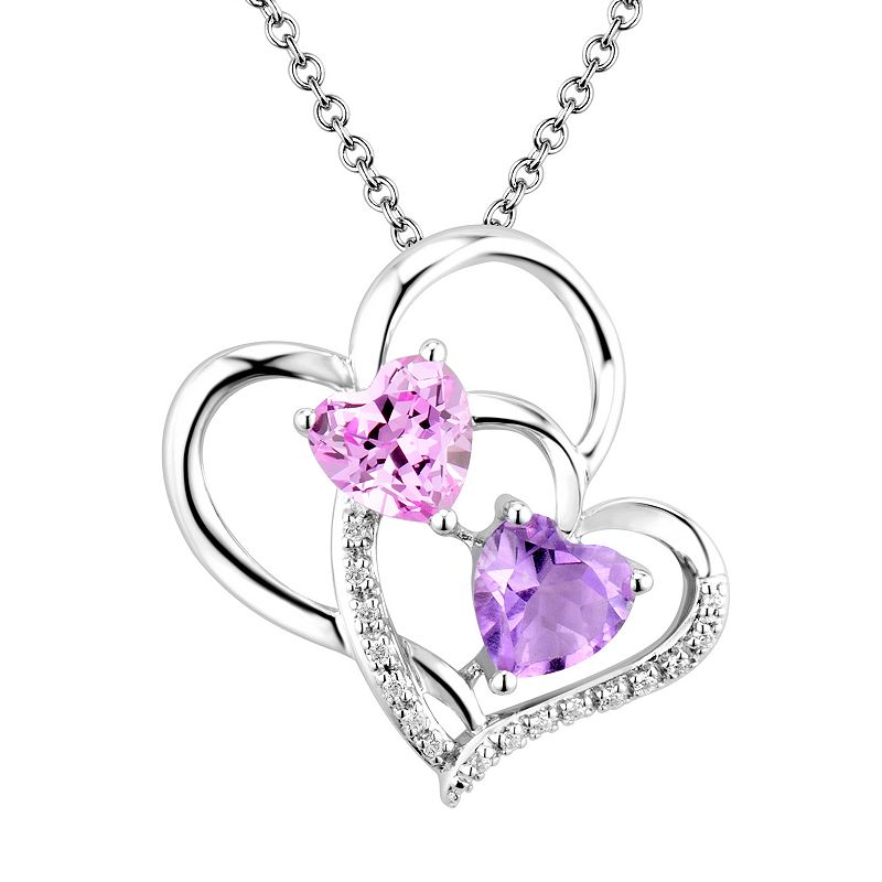 Two Hearts Forever One Sterling Silver Amethyst, Lab-Created Pink Sapphire and Diamond Accent Double Heart Pendant