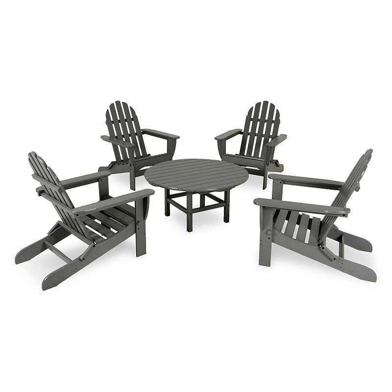 POLYWOOD 5-pc. Classic Folding Adirondack Chair and Table Set - Outdoor