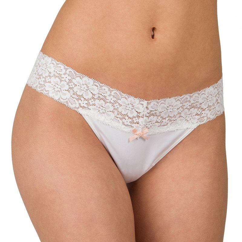 Juniors' Candie's® Lace-Waist Microfiber Thong