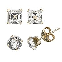 Gold 'N' Ice 10k Gold Crystal Stud Earring Set - Made with Swarovski Crystals