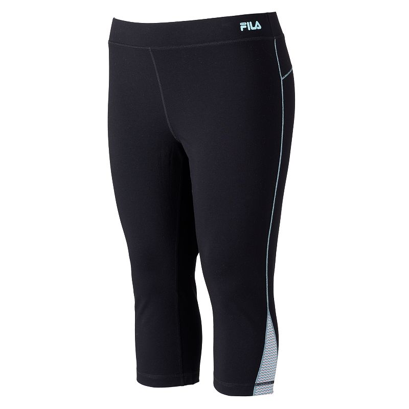 FILA Sport Colorblock Active Capri Yoga Leggings - Women's Plus (Black)