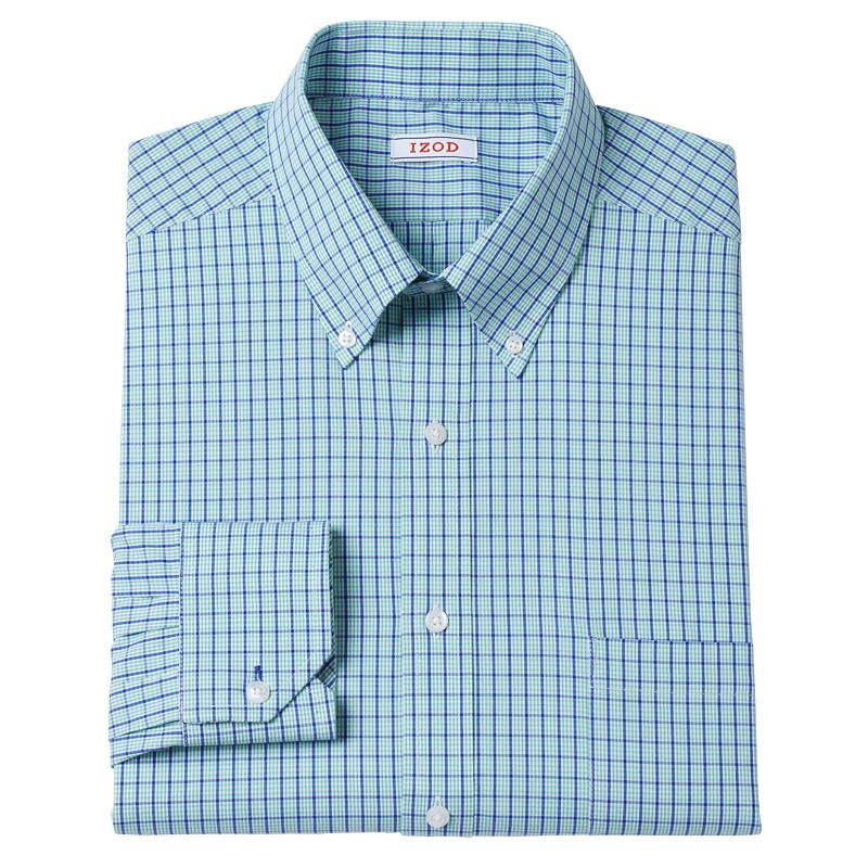 Men's IZOD Regular-Fit Plaid Stretch Dress Shirt - Men