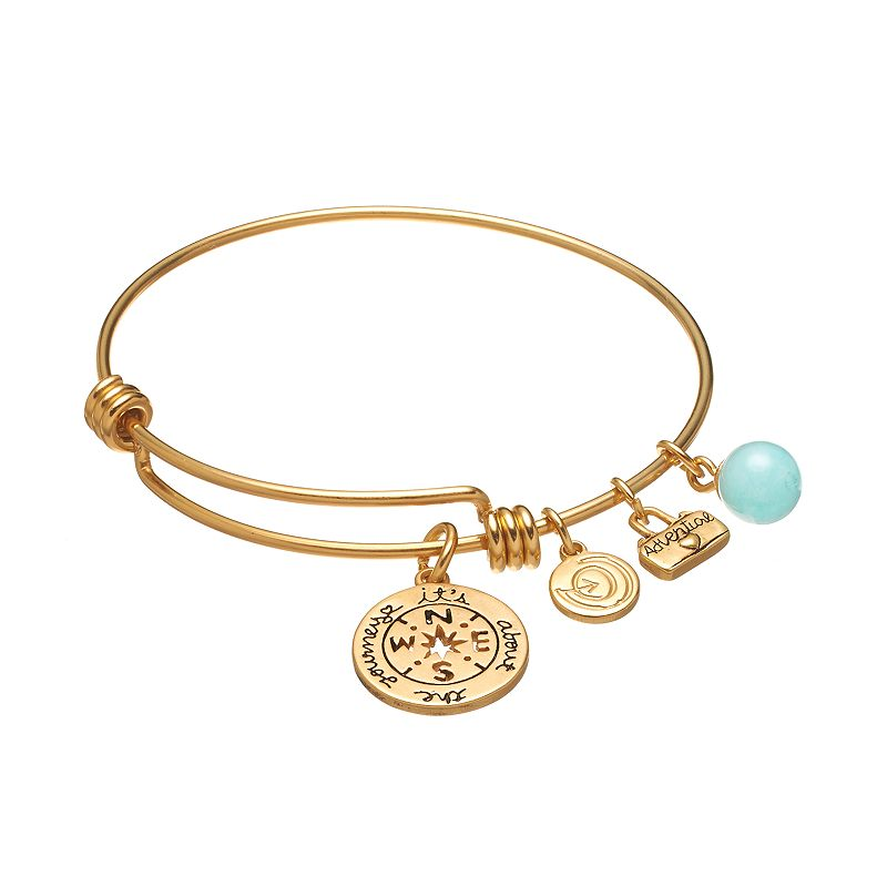 love this life Gold-Tone Stainless Steel Amazonite ''It's About The Journey'' Compass and ''Adventure'' Suitcase Charm Bangle Bracelet