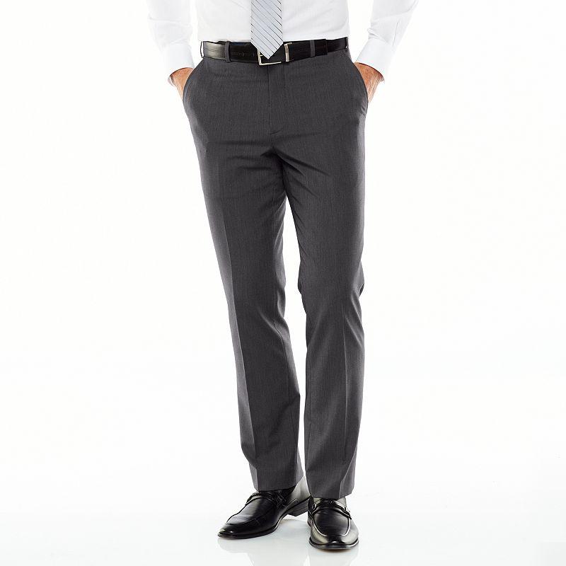 Men's Adolfo Slim-Fit Flat-Front Gray Suit Pants