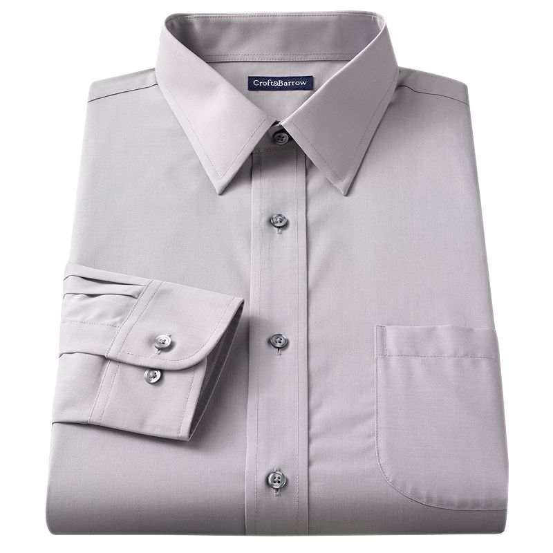 Men's Croft & Barrow® Slim-Fit Solid Broadcloth Point-Collar Dress Shirt