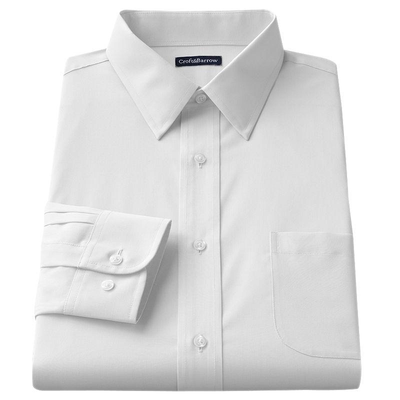Men's Croft & Barrow® Slim-Fit Solid Broadcloth Point-Collar Dress Shirt