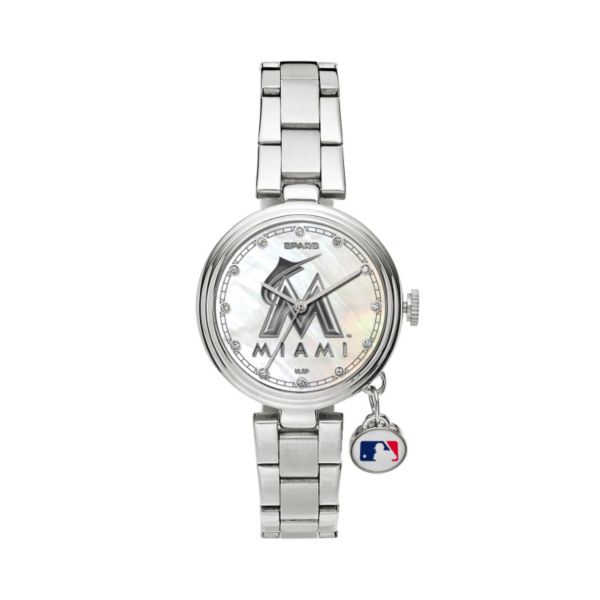 Sparo Charm Watch - Women's Miami Marlins Stainless Steel