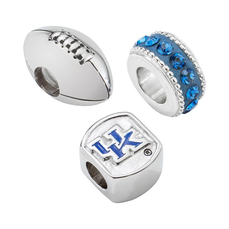 LogoArt Kentucky Wildcats Sterling Silver Crystal Bead Set