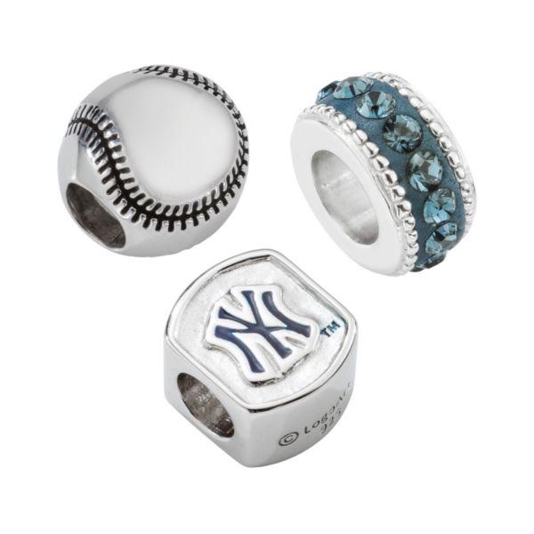 New York Yankees Sterling Silver Crystal Bead Set