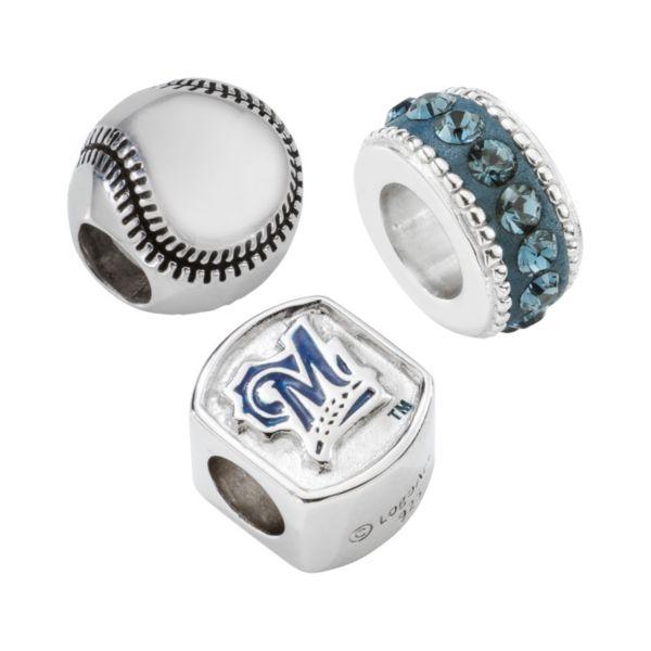LogoArt Milwaukee Brewers Sterling Silver Crystal Bead Set