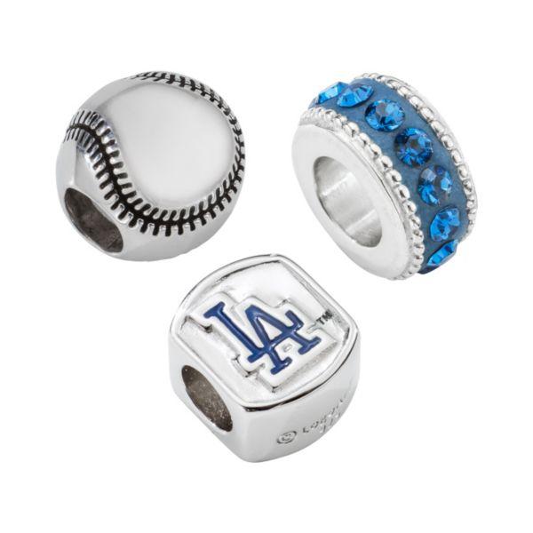 LogoArt Los Angeles Dodgers Sterling Silver Crystal Bead Set