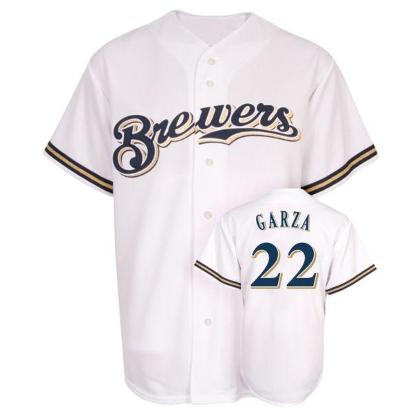 Men's Majestic Milwaukee Brewers Matt Garza Replica MLB Jersey